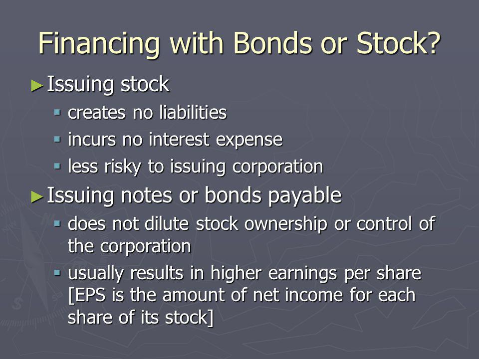 Financing with Bonds or Stock