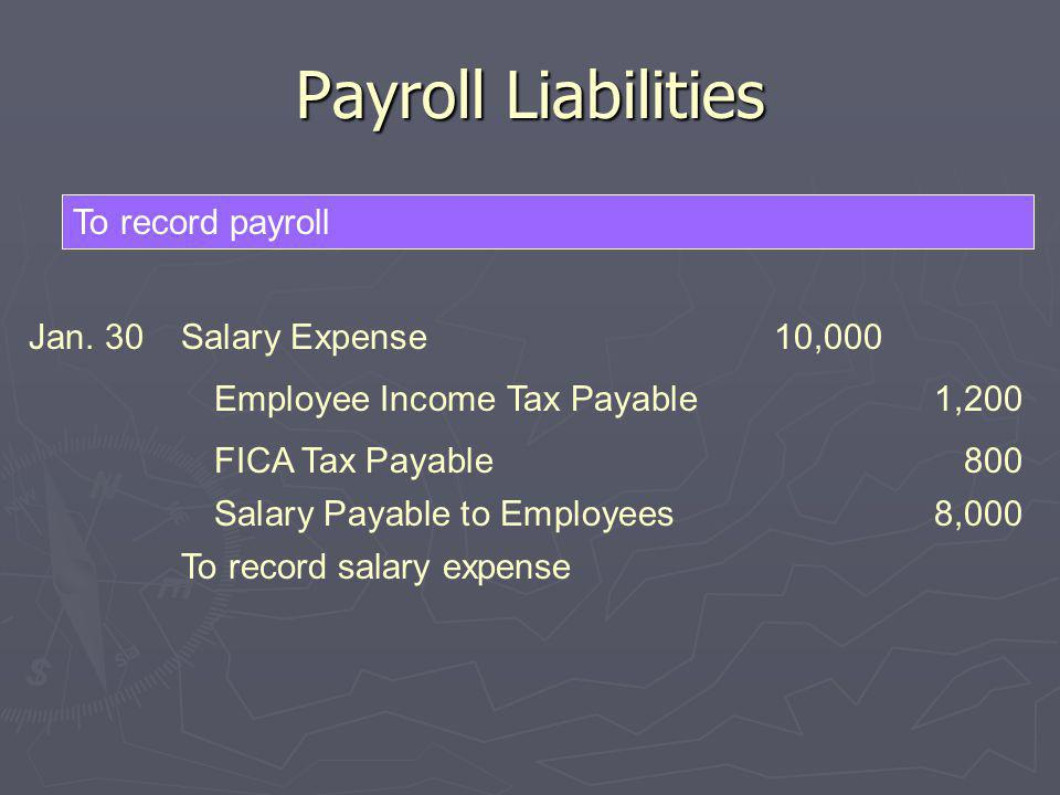 Payroll Liabilities To record payroll Jan. 30 Salary Expense 10,000