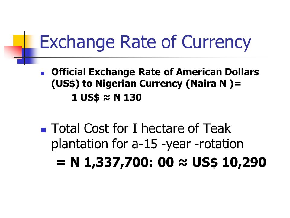 Exchange Rate of Currency