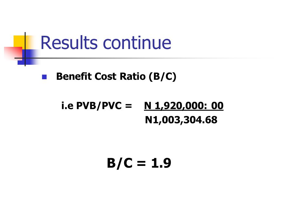 Results continue Benefit Cost Ratio (B/C) B/C = 1.9