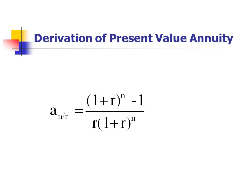 Derivation of Present Value Annuity