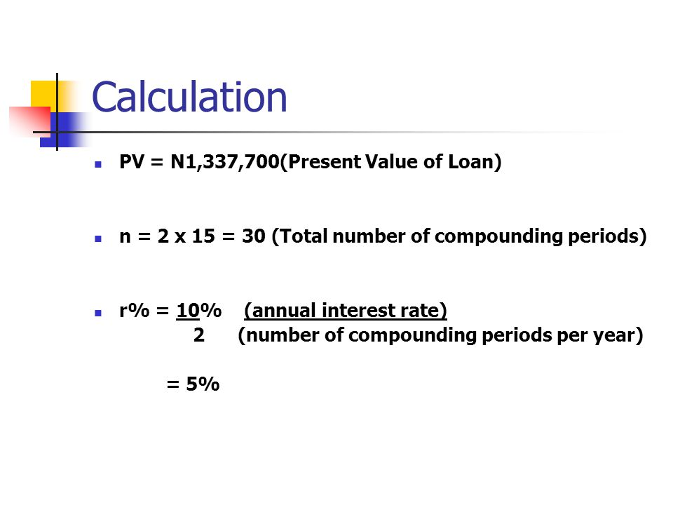 Calculation PV = N1,337,700(Present Value of Loan)