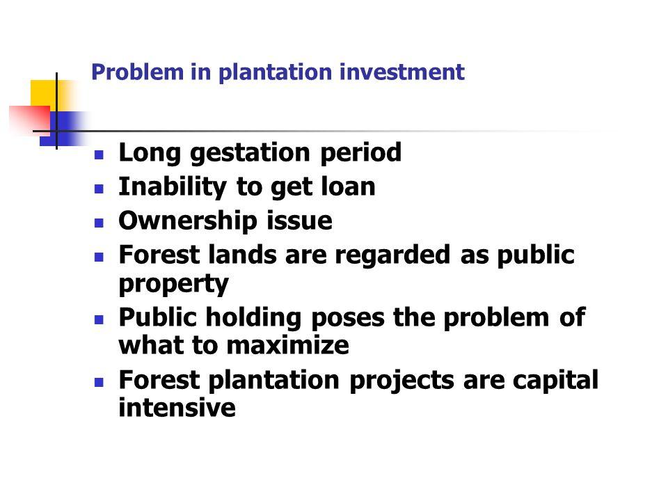 Problem in plantation investment