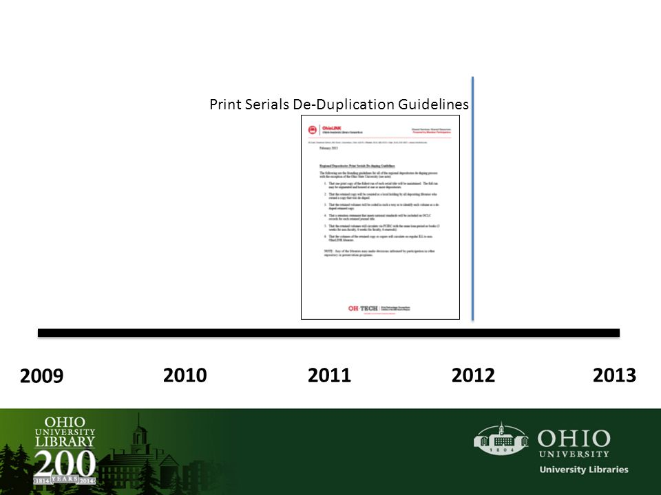 2009 2010 2011 2012 2013 Print Serials De-Duplication Guidelines