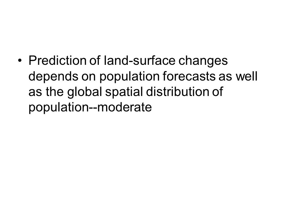 Prediction of land-surface changes depends on population forecasts as well as the global spatial distribution of population--moderate