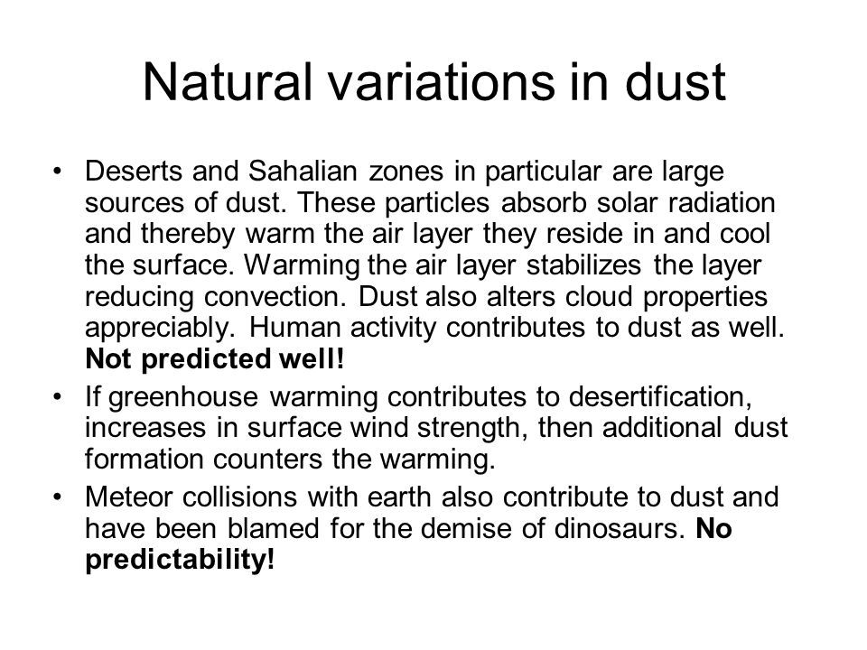Natural variations in dust