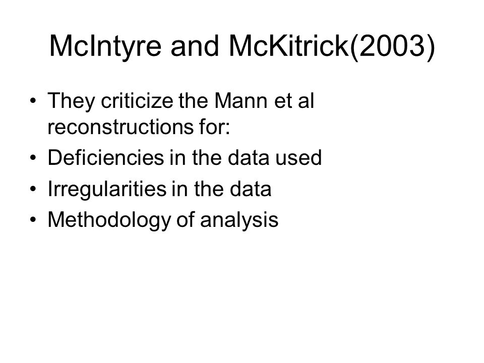 McIntyre and McKitrick(2003)