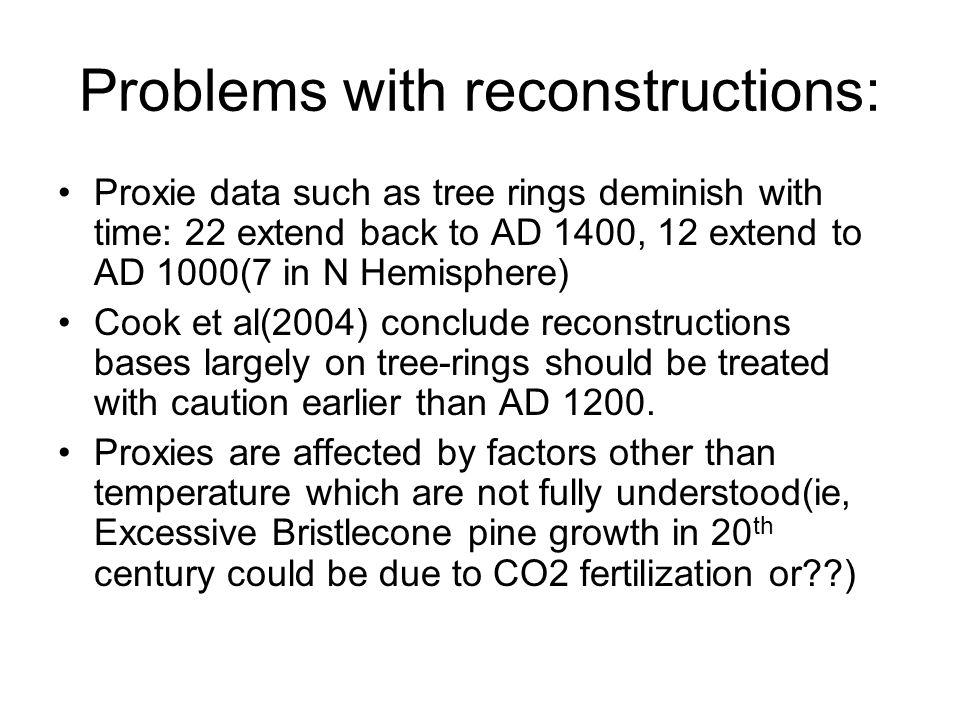 Problems with reconstructions: