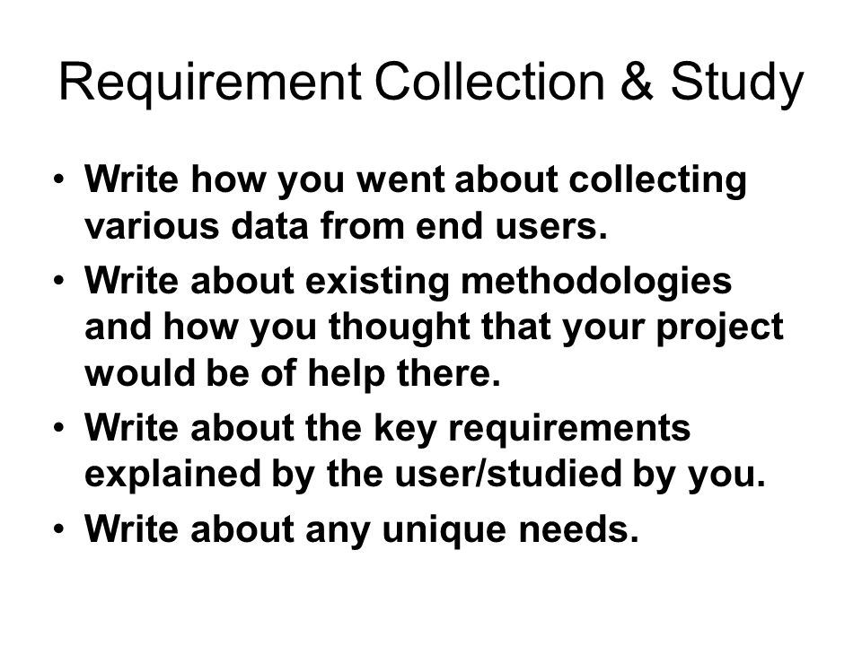 Requirement Collection & Study
