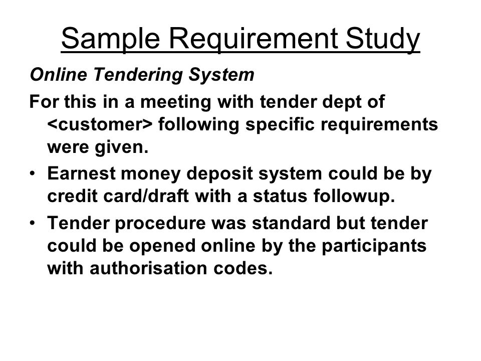 Sample Requirement Study