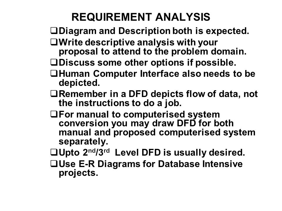 REQUIREMENT ANALYSIS Diagram and Description both is expected.