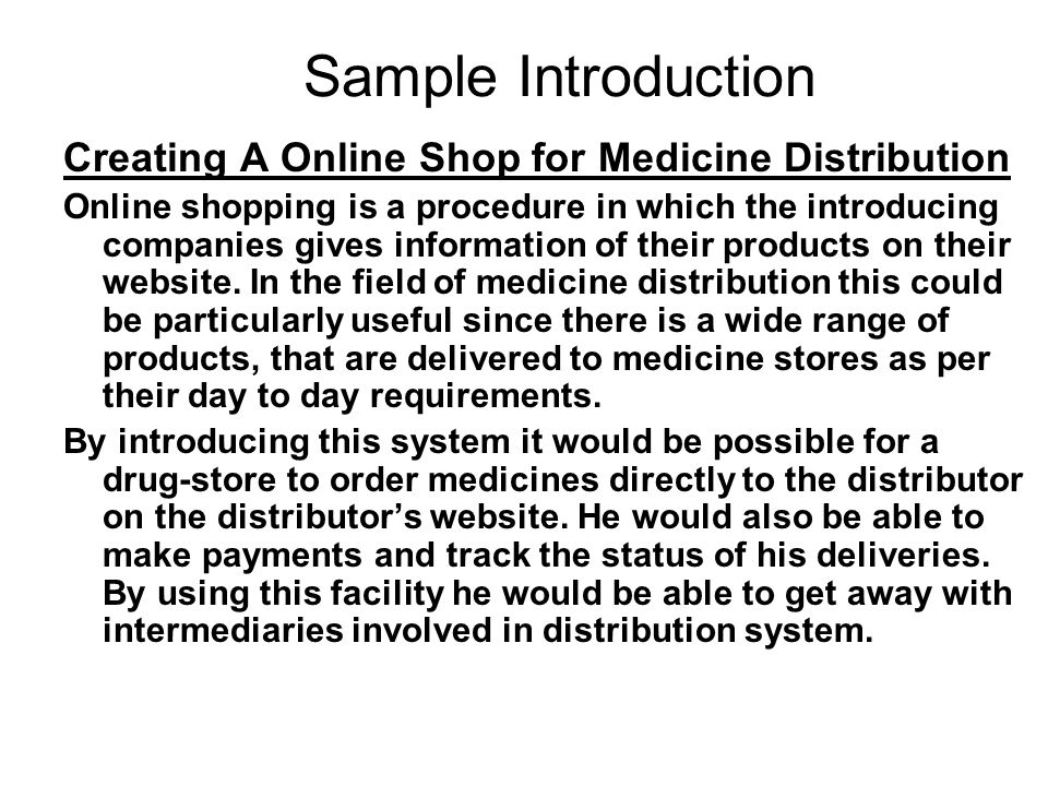 Sample Introduction Creating A Online Shop for Medicine Distribution