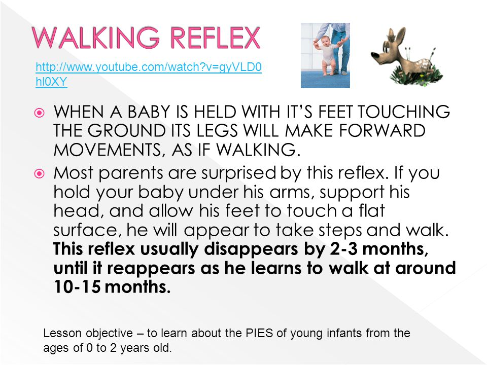 WALKING REFLEX http://www.youtube.com/watch v=gyVLD0hl0XY.