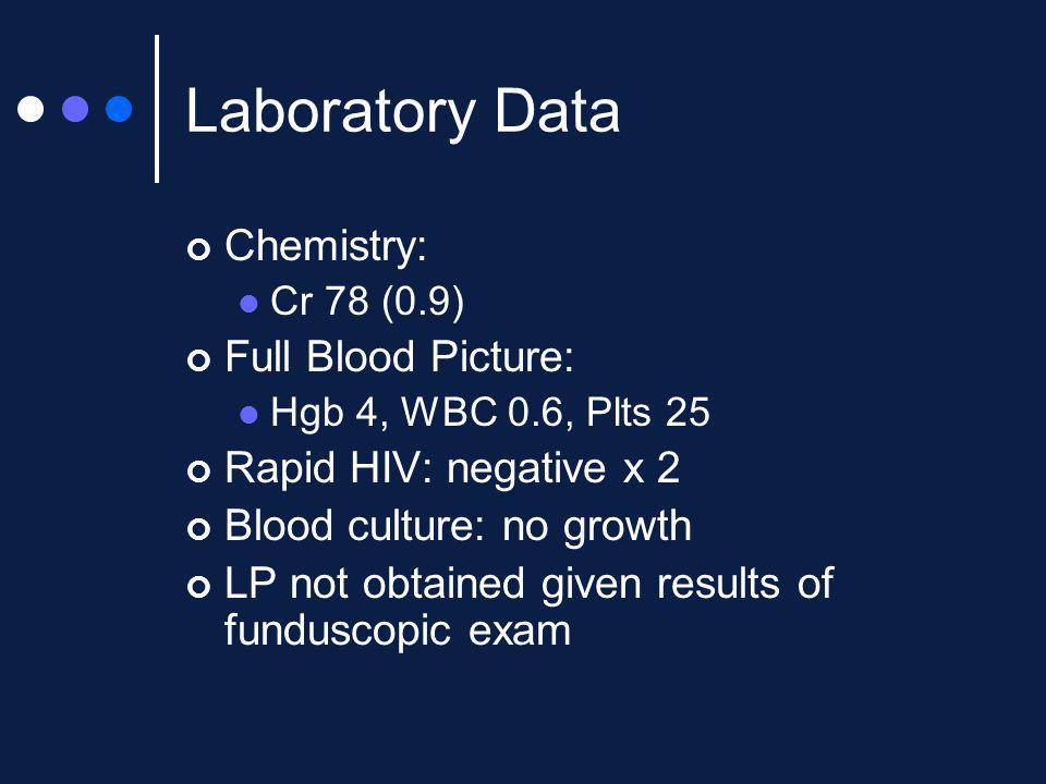 Laboratory Data Chemistry: Full Blood Picture: Rapid HIV: negative x 2