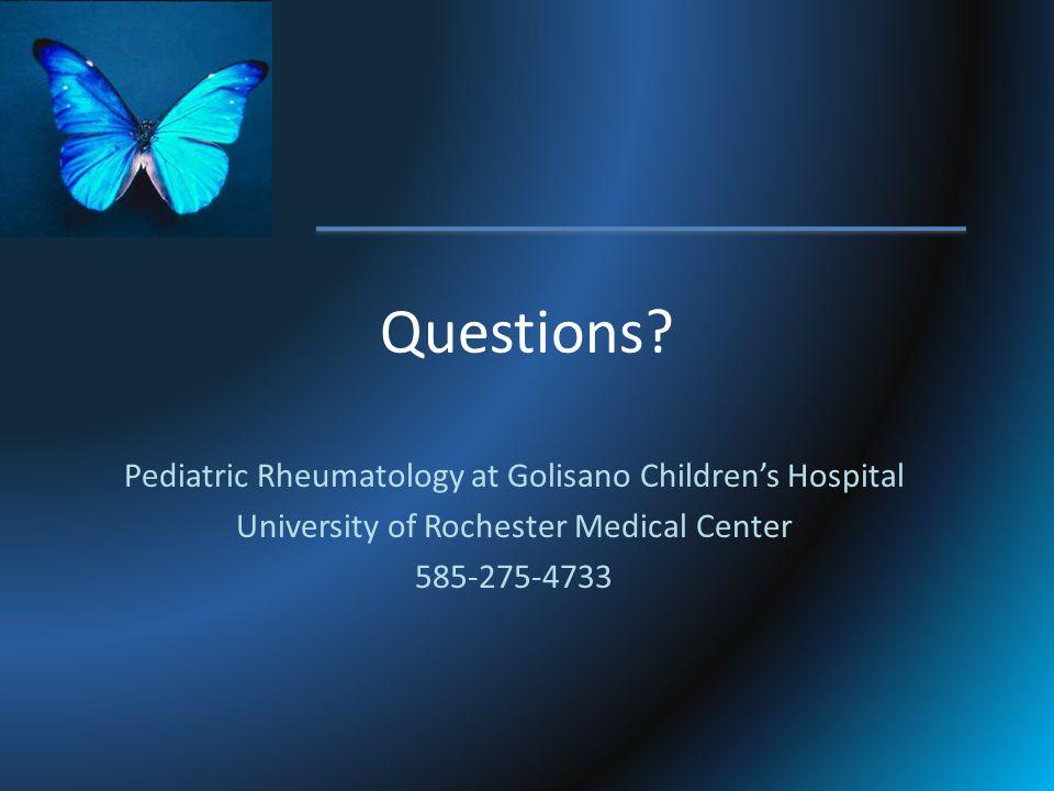 Questions Pediatric Rheumatology at Golisano Children's Hospital