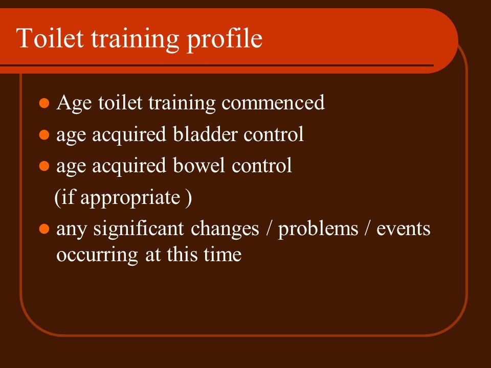Toilet training profile