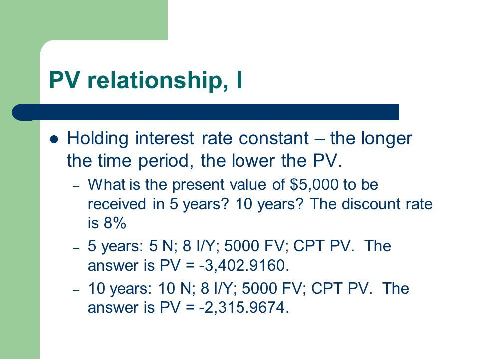PV relationship, I Holding interest rate constant – the longer the time period, the lower the PV.