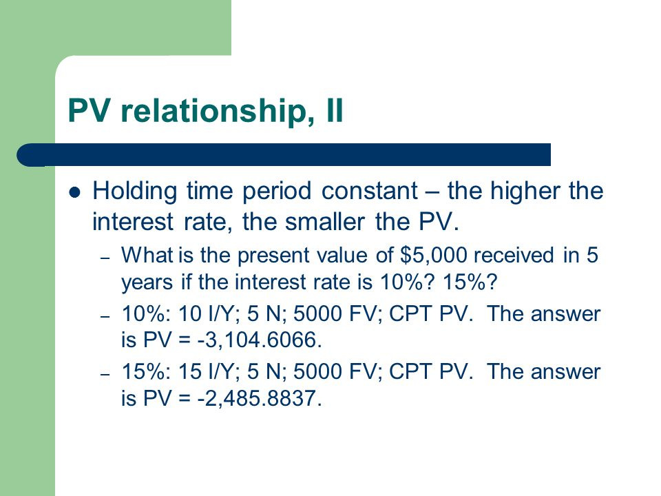 PV relationship, II Holding time period constant – the higher the interest rate, the smaller the PV.