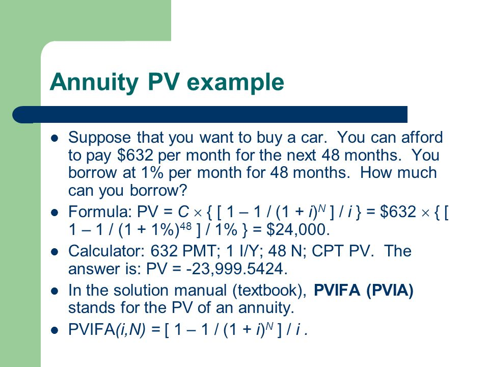 Annuity PV example