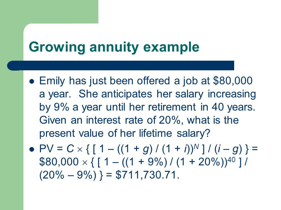 Growing annuity example