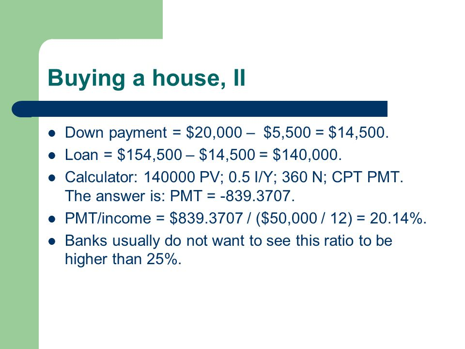 Buying a house, II Down payment = $20,000 – $5,500 = $14,500.
