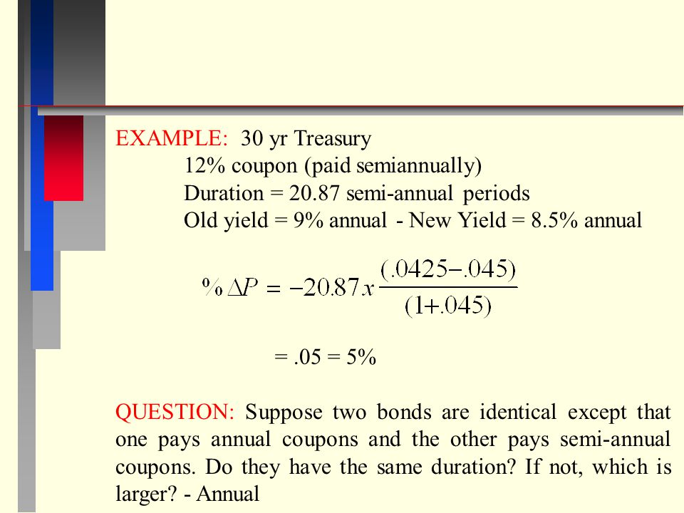 EXAMPLE: 30 yr Treasury 12% coupon (paid semiannually) Duration = 20.87 semi-annual periods. Old yield = 9% annual - New Yield = 8.5% annual.