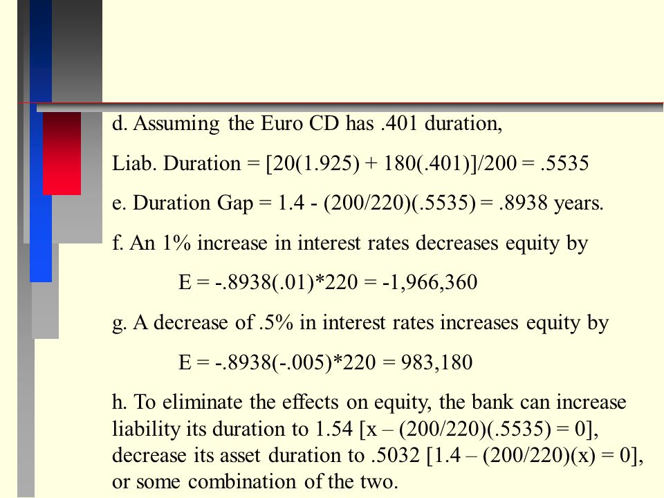 d. Assuming the Euro CD has .401 duration,
