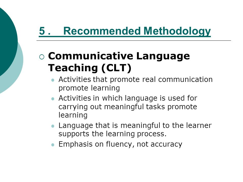 5 . Recommended Methodology