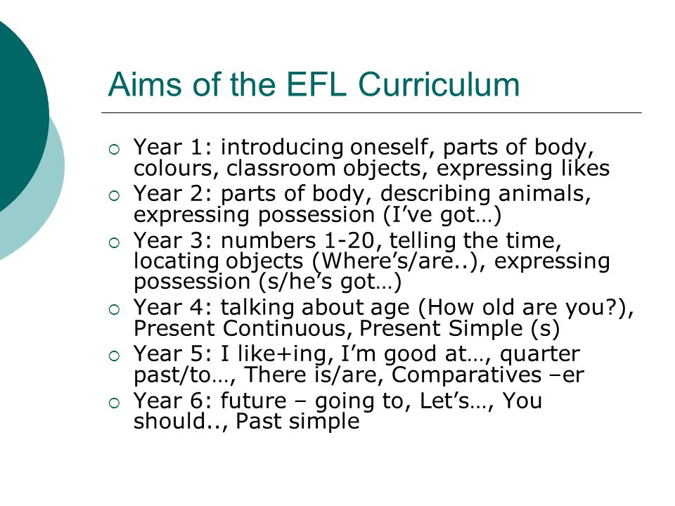 Aims of the EFL Curriculum