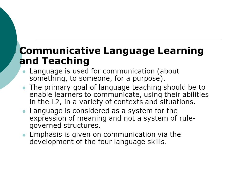 Communicative Language Learning and Teaching