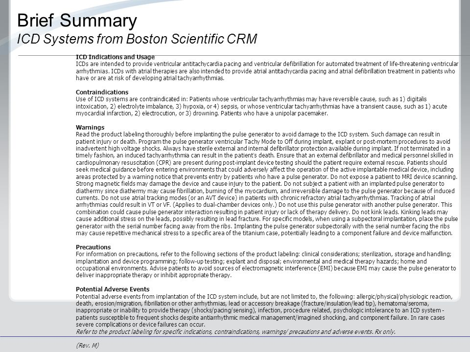 Brief Summary ICD Systems from Boston Scientific CRM