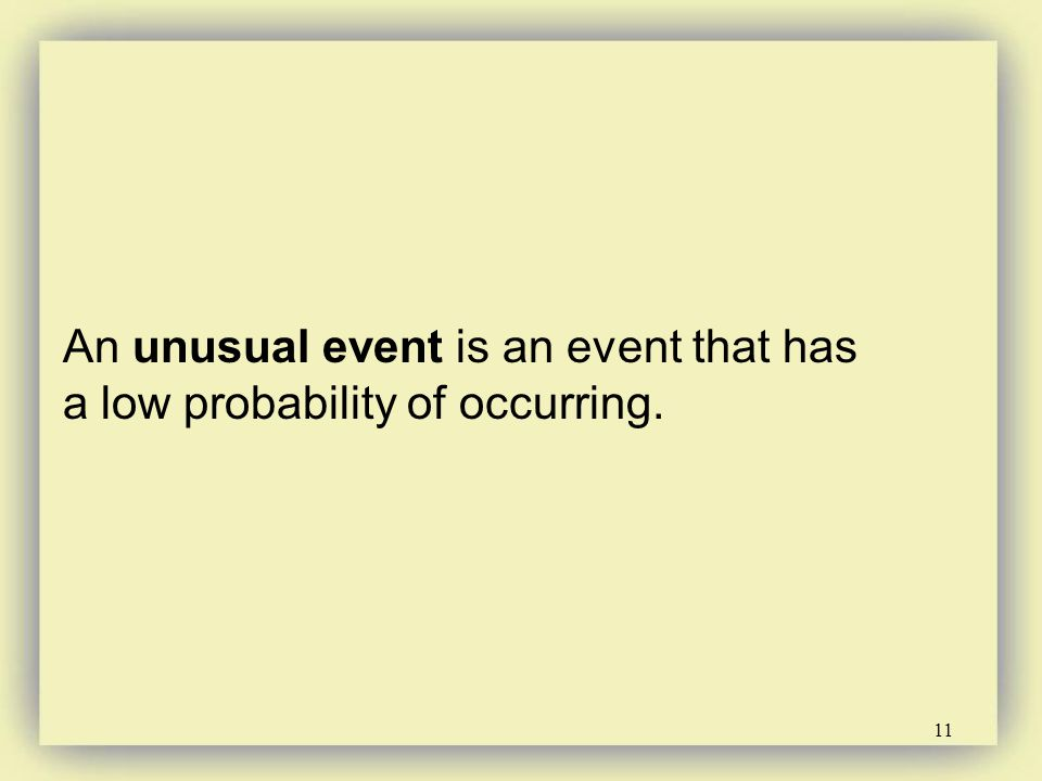 An unusual event is an event that has a low probability of occurring.