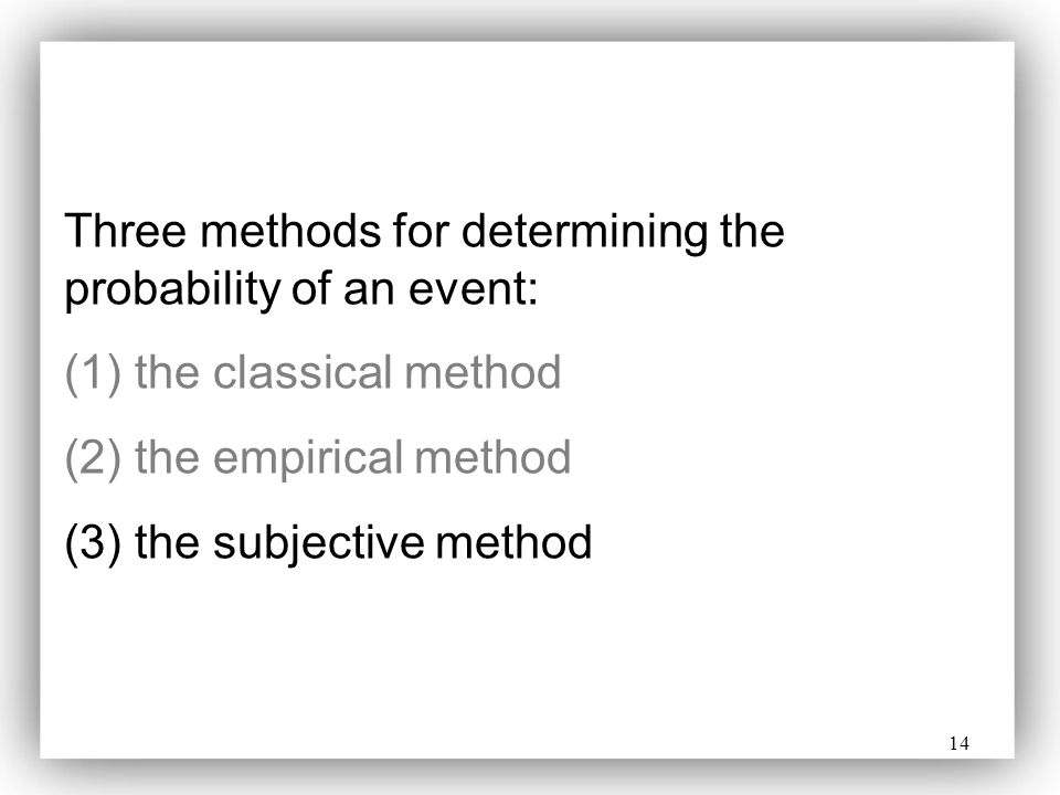Three methods for determining the probability of an event:
