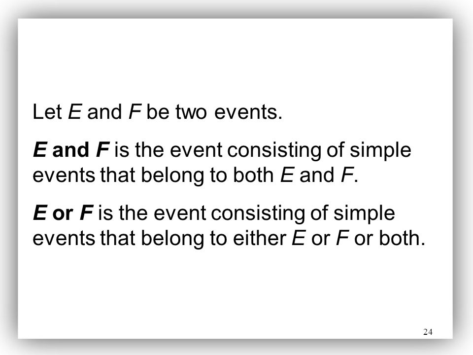 Let E and F be two events. E and F is the event consisting of simple events that belong to both E and F.