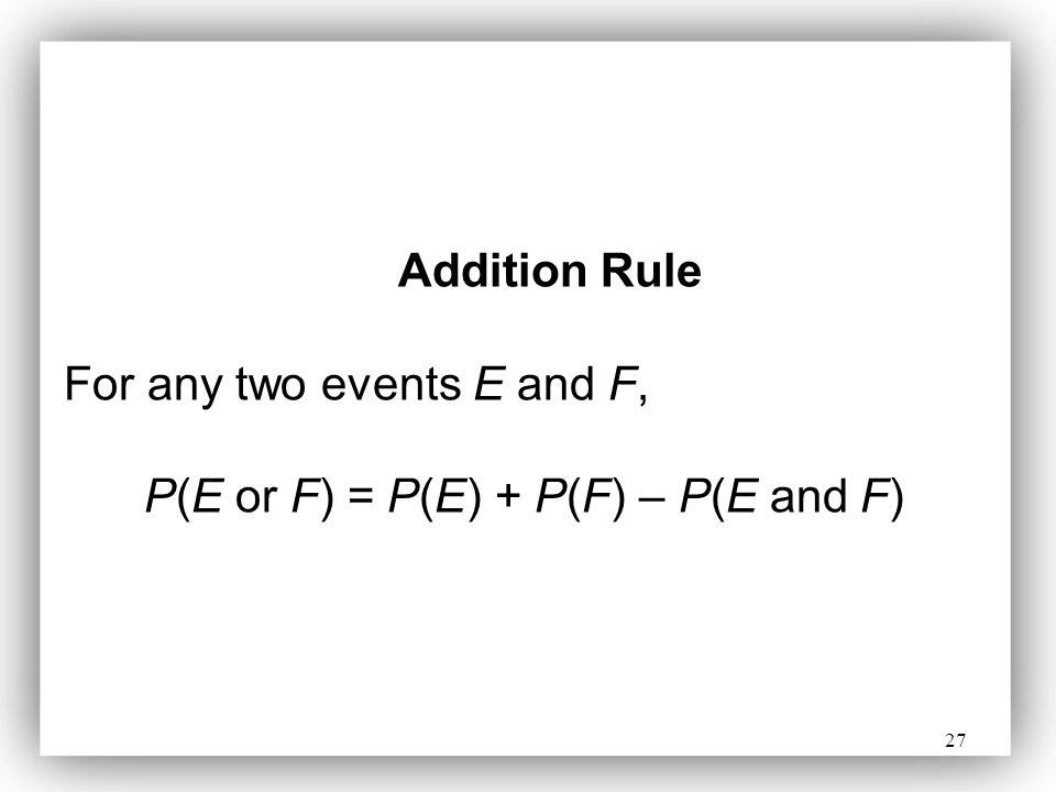 P(E or F) = P(E) + P(F) – P(E and F)