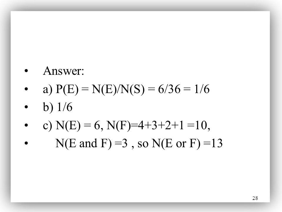 Answer: a) P(E) = N(E)/N(S) = 6/36 = 1/6. b) 1/6.