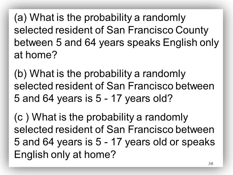 (a) What is the probability a randomly selected resident of San Francisco County between 5 and 64 years speaks English only at home