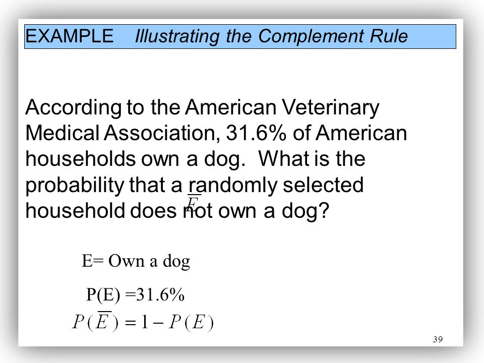 EXAMPLE Illustrating the Complement Rule