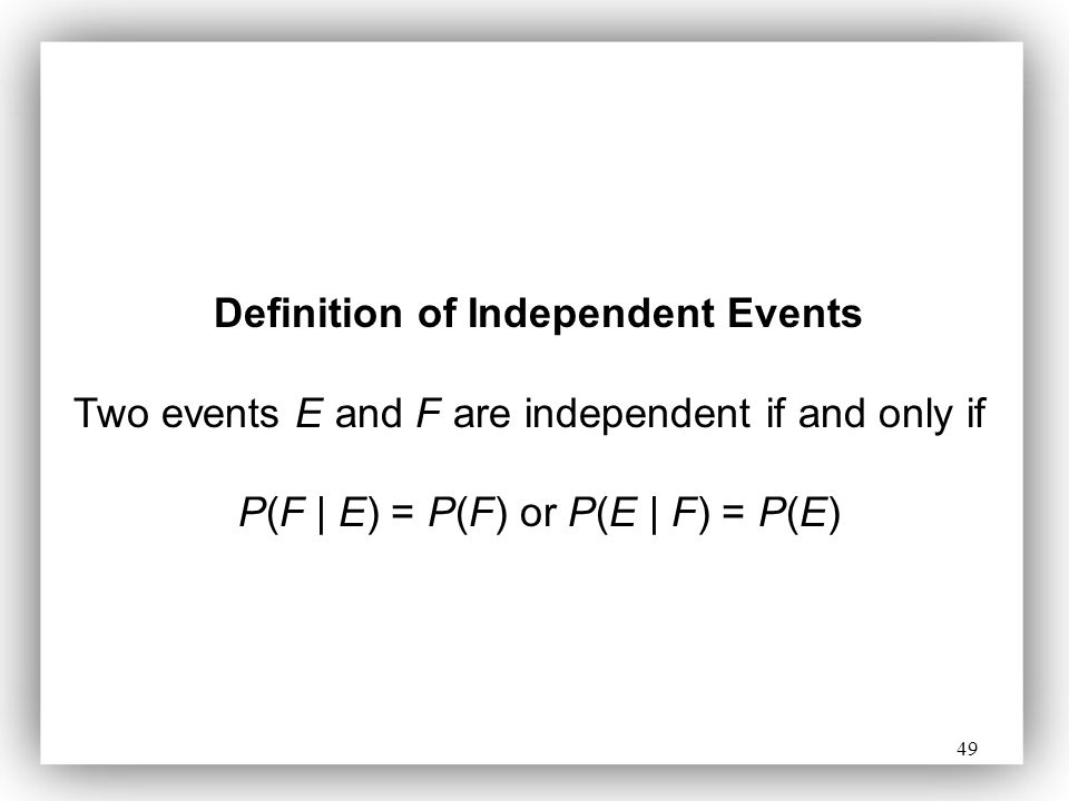 Definition of Independent Events