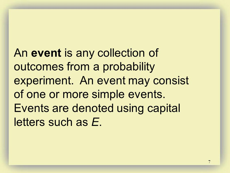 An event is any collection of outcomes from a probability experiment
