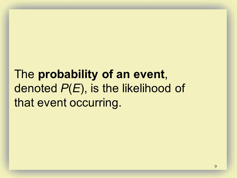 The probability of an event, denoted P(E), is the likelihood of that event occurring.
