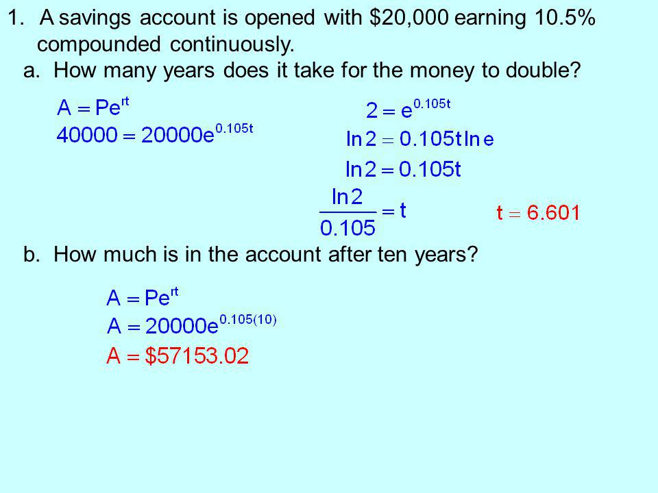 A savings account is opened with $20,000 earning 10.5%