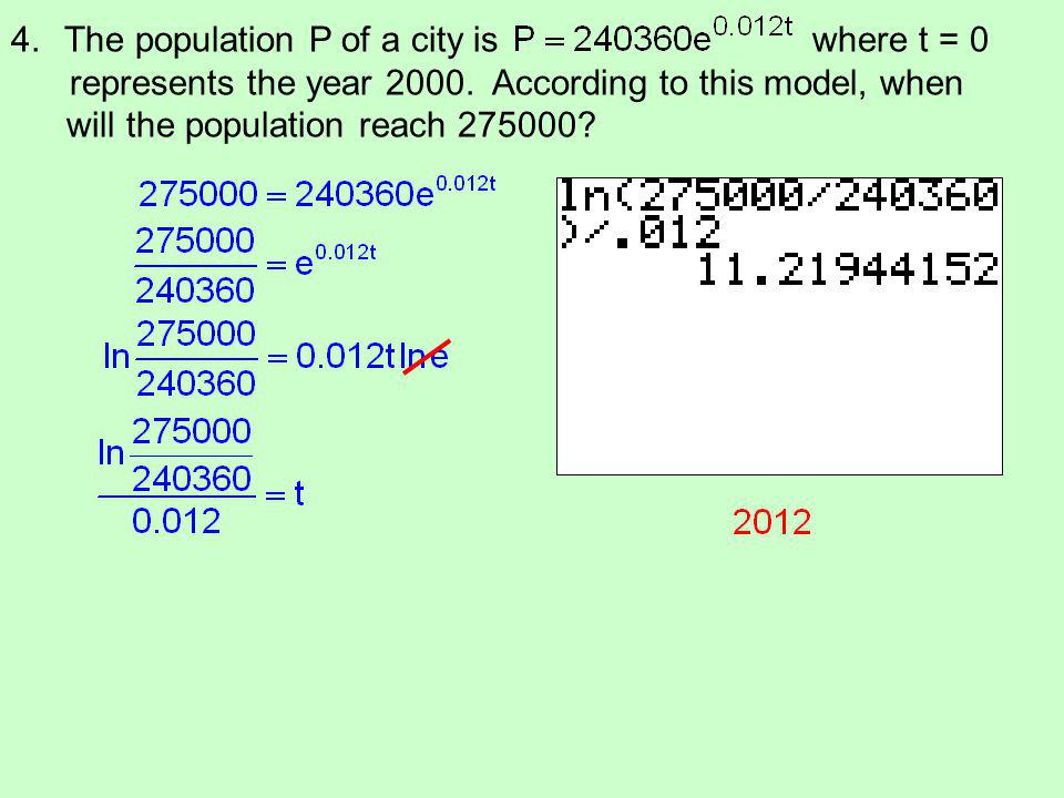 The population P of a city is where t = 0