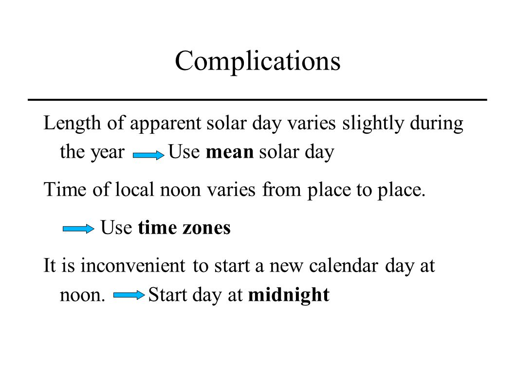 Complications Length of apparent solar day varies slightly during the year Use mean solar day.