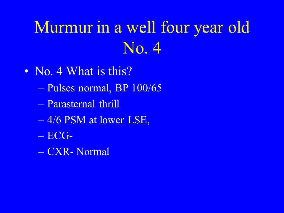 Murmur in a well four year old No. 4