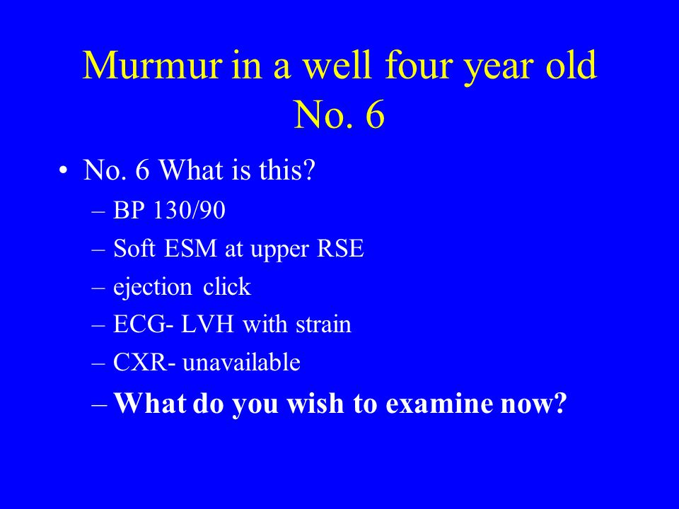 Murmur in a well four year old No. 6