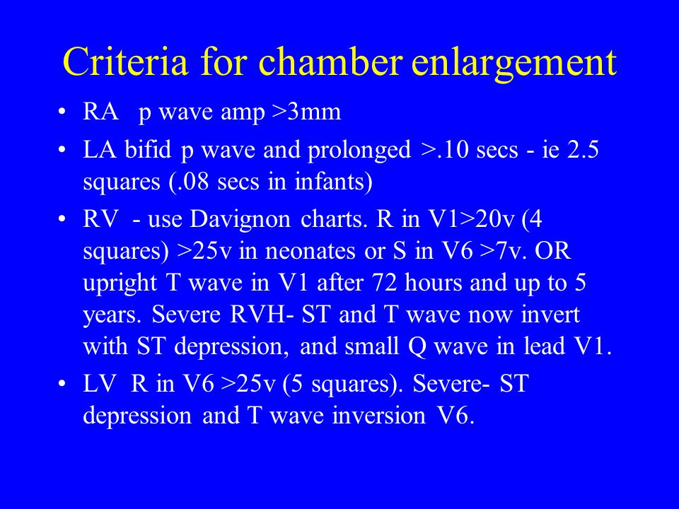 Criteria for chamber enlargement