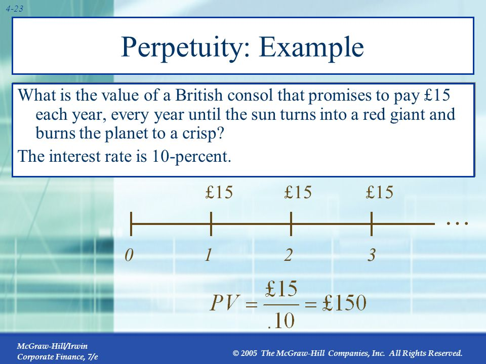 Growing Perpetuity A growing stream of cash flows that lasts forever. 1. C. 2. C×(1+g) 3. C ×(1+g)2.