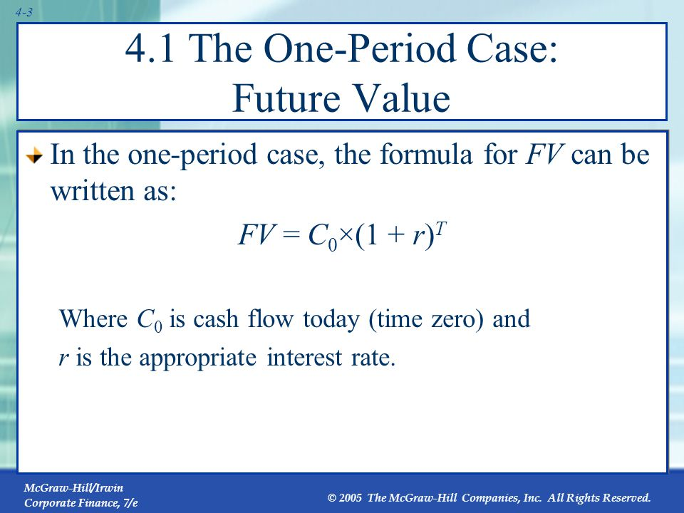 4.1 The One-Period Case: Present Value
