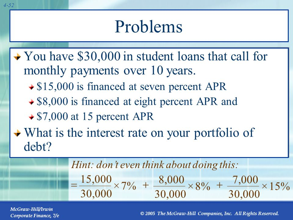 Problems Find the payment on each loan, add the payments to get your total monthly payment: $384.16.
